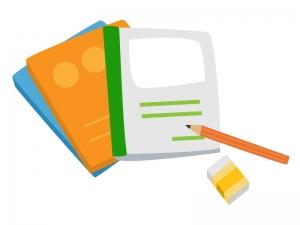 ノートや教科書と鉛筆のイラスト