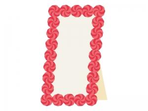 紙花で飾りつけた立て看板のイラスト