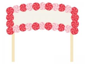 紙花で飾りつけた看板のイラスト