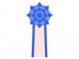 青い胸章リボンのイラスト