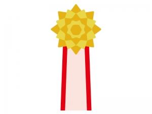 黄色の胸章リボンのイラスト