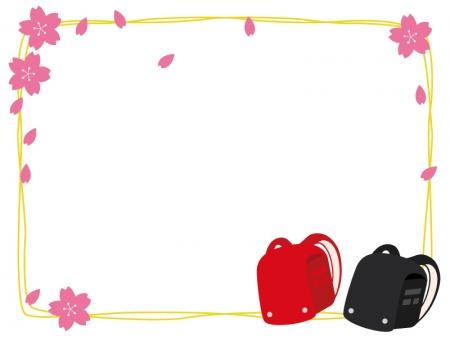 赤と黒のランドセルと桜の花のフレーム・枠イラスト