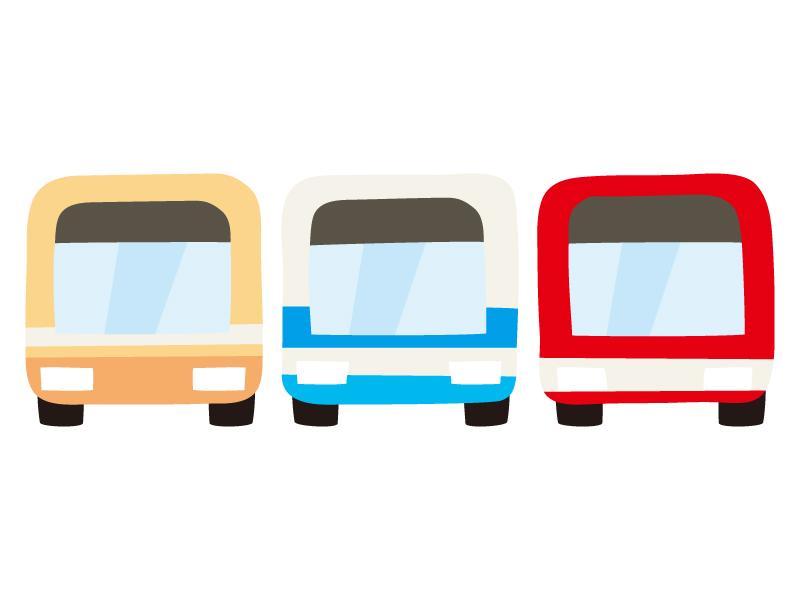 並んだバスのイラスト