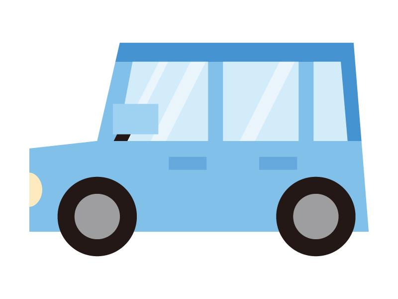 青いかわいい自動車のイラスト