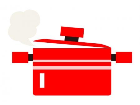 湯気が出ている赤い鍋のイラスト