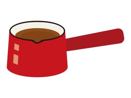 赤い片手鍋・ミルクパンのイラスト