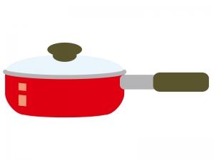 赤いシンプルなフライパンのイラスト02