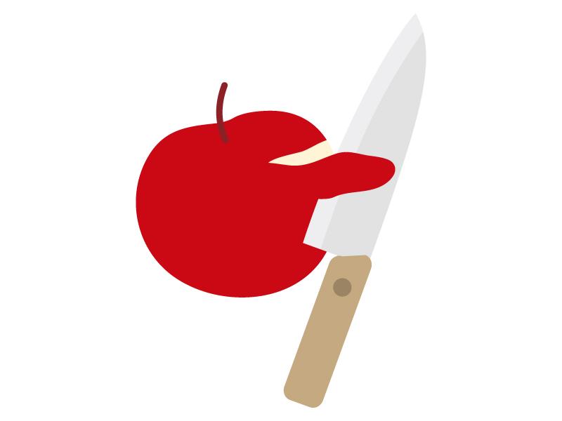 包丁でりんごの皮を剥いているイラスト