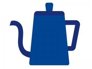 青いコーヒーポットのイラスト