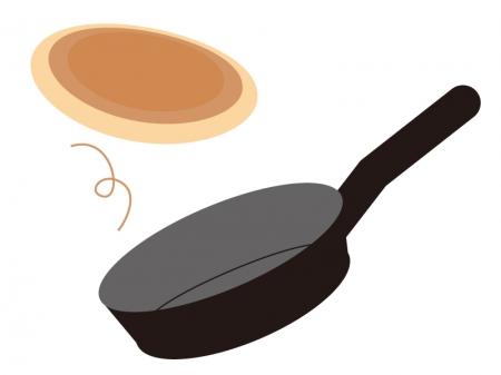 フライパンとホットケーキのイラスト