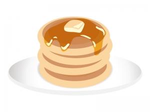 白いお皿に乗ったホットケーキ・パンケーキのイラスト