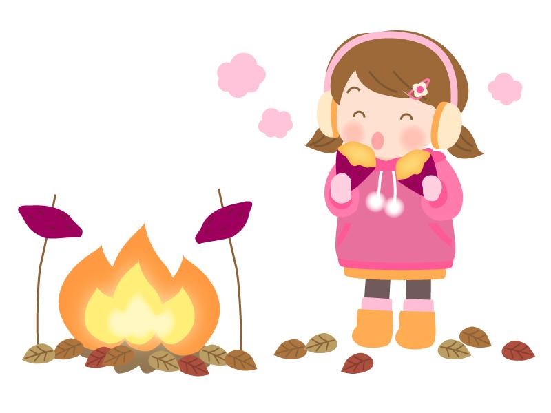 たき火と焼き芋を食べる子供のイラスト
