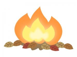 たき火・炎と落ち葉のイラスト