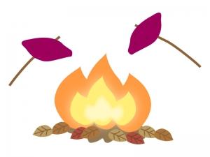 たき火・炎と焼き芋のイラスト