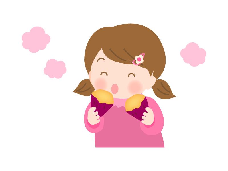 焼き芋を食べる子供のイラスト