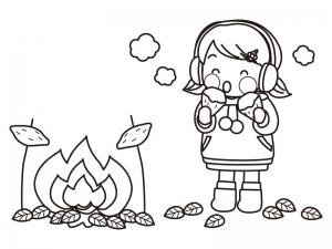 たき火と焼き芋を食べる子供のぬりえ(線画)イラスト素材