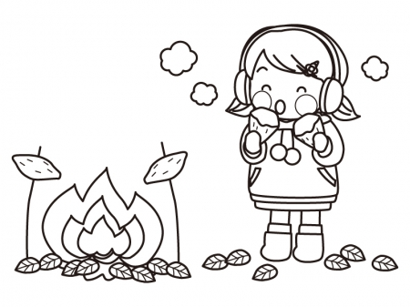 たき火と焼き芋を食べる子供のぬりえ線画イラスト素材 イラスト