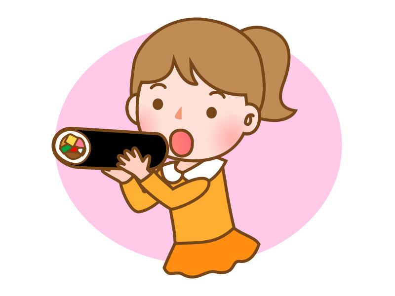 恵方巻きを食べている子供のイラスト