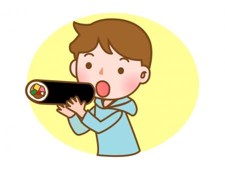 恵方巻きを食べている子供のイラスト02