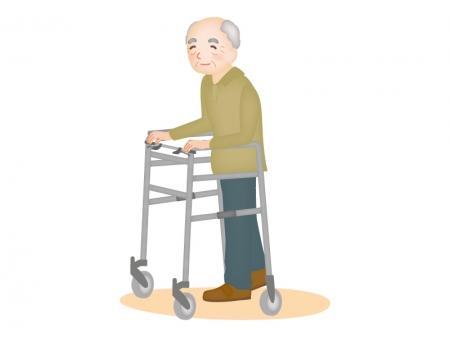 歩行器とお年寄りのイラスト