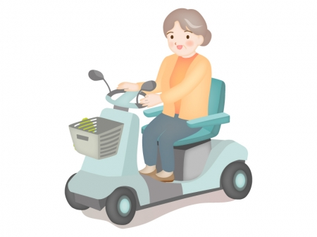 電動シニアカーとお年寄りのイラスト