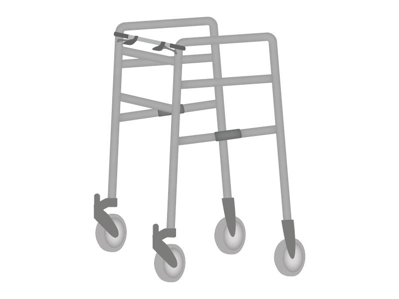 前輪付歩行器のイラスト