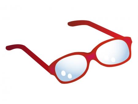 赤縁メガネのイラスト