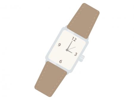 革ベルトの腕時計のイラスト