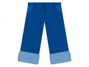裾をまくったジーンズのイラスト