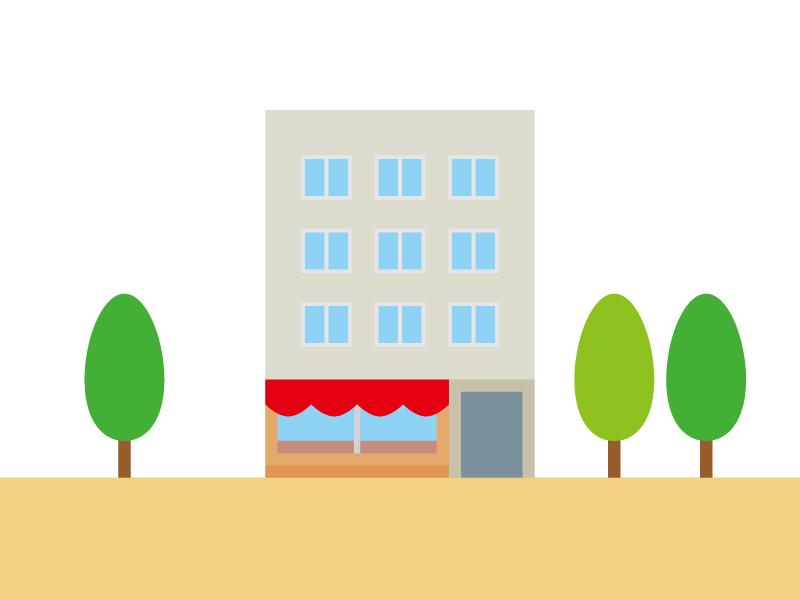 店舗が入ったビルのイラスト