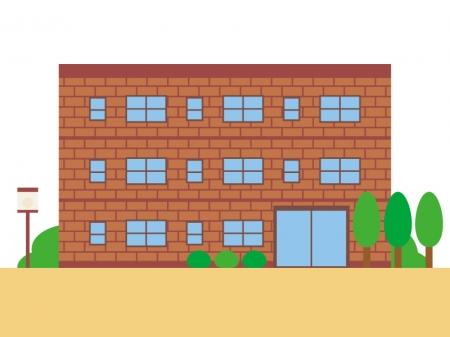 レンガ造りの建物のイラスト