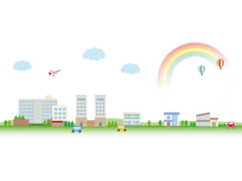 飛行機と虹と街並みのイラスト