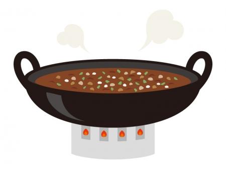 大鍋で炊いている芋煮のイラスト