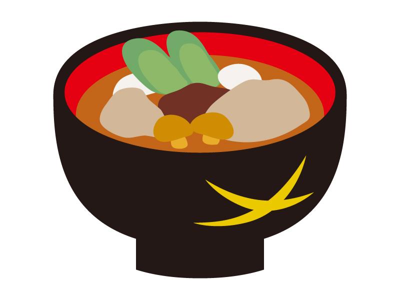 お椀と芋煮のイラスト