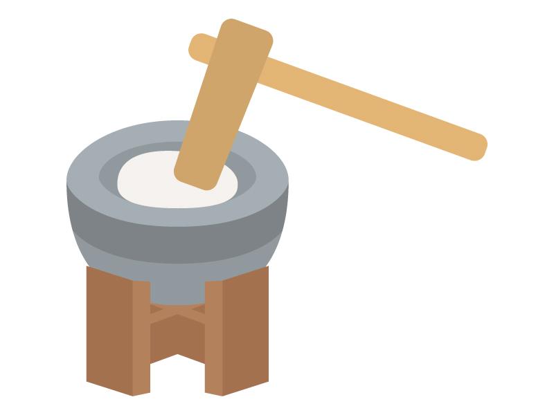 石臼の餅つきのイラスト