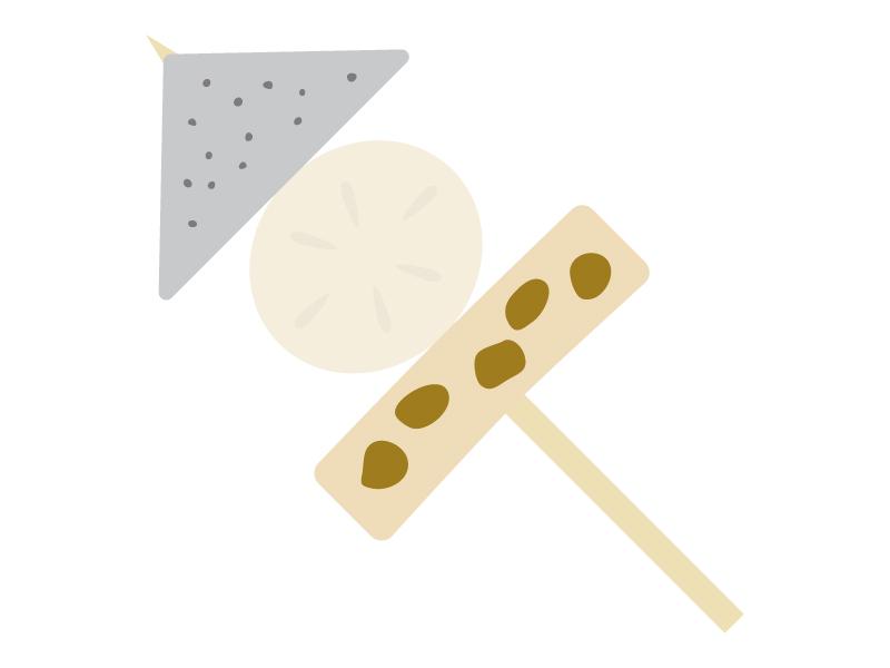 串のおでん(こんにゃく・大根・ちくわ)のイラスト