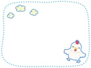 雲とにわとりの点線フレーム・枠イラスト