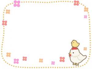 にわとりとヒヨコの花の点線フレーム・枠イラスト