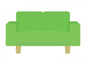 グリーンの二人掛けソファのイラスト