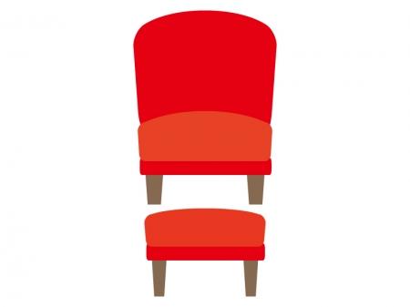 赤い椅子とオットマンのイラスト