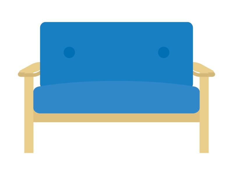 二人掛けの木肘ソファのイラスト