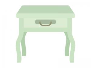 オシャレな引き出し付きの猫脚サイドテーブルのイラスト