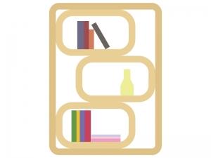 オシャレな本棚のイラスト
