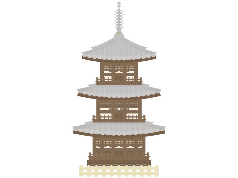 三重塔のイラスト