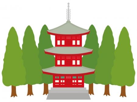赤い三重塔のイラスト