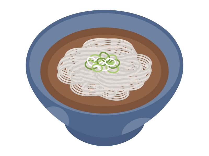温かい蕎麦のイラスト