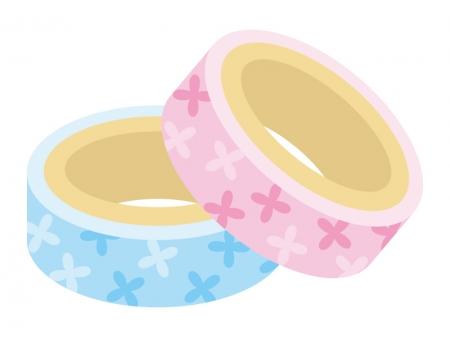 ピンクと水色のマスキングテープのイラスト