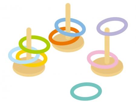 輪投げ遊びのイラスト