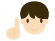 指さしポーズする男性のイラスト