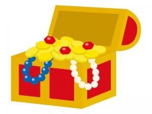 コインや宝石が溢れている宝箱のイラスト